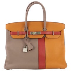 Hermes Birkin Handbag Tricolor Clemence and Swift with Brushed Palladium Hardwar