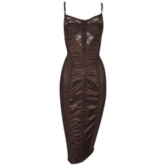 F/W 1996 Dolce & Gabbana Brown Sheer Lace Pin-Up Corset Wiggle Dress