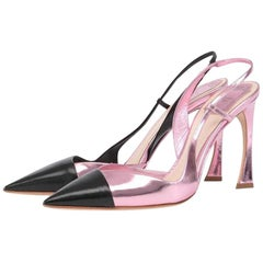 Christian Dior Defile D'Orsay Metallic Leather Slingback Pumps
