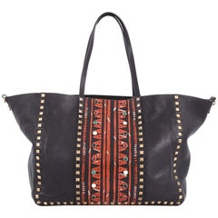Valentino Rolling Rockstud Convertible Tote Tribal Embellished Leather Medium