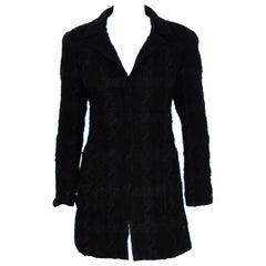 Chanel Black Fall 05 Longline Single Breasted Jacket W/ Satin Bows on Sleeve