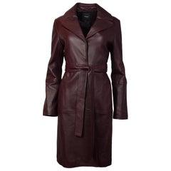 Theory Burgundy Leather Coat W/ Belt Sz M
