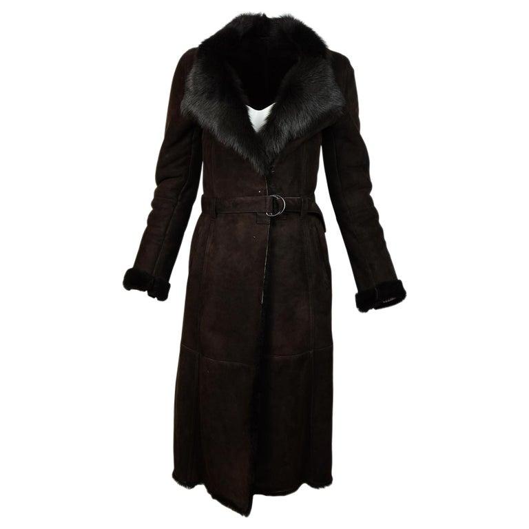 Joseph Brown Shearling/Suede Coat W/ Belt Sz 36 For Sale