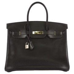 Hermes Birkin Handbag Ebene Box Calf with Gold Hardware 35