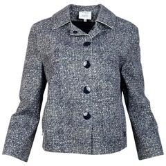 Akris Navy/White Tweed Print Jacket Sz 12