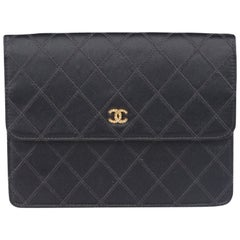 Chanel Vintage Black Quilted Satin Clutch Evening Bag with Rhinestones