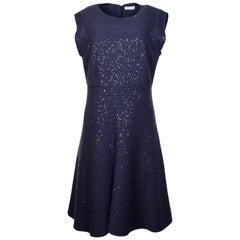 Brunello Cucinelli Periwinkle Cashmere/Silk Dress W/ Sequins Sz XL