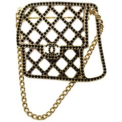 Chanel 2017 Goldtone Quilted Flap Bag Brooch Pin W/ Chain