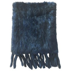 Unsigned Scarf in Dark Blue Rabbit Fur
