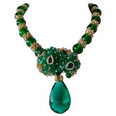 William de Lillo Faux Emerald Diamanté Statement Necklace (Prototype)