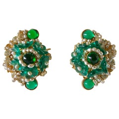 William de Lillo Faux Emerald Diamanté Statement Earrings