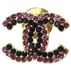 CHANEL CC Pin in Gilt Metal set with Rhinestones