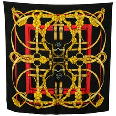 Hermes Red/Black/Gold Grand Manege 90cm Silk Scarf
