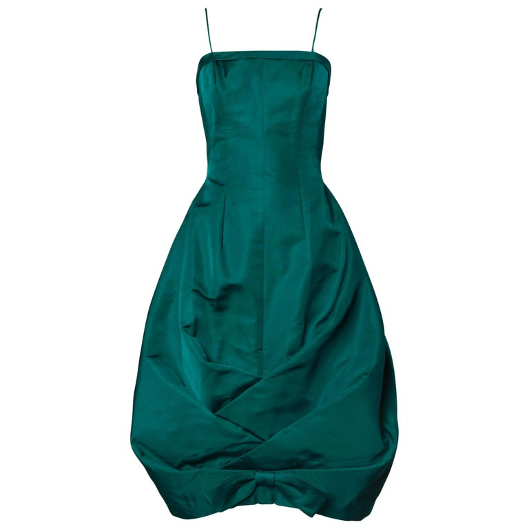 1950s Suzy Perette Vintage Green Silk Cocktail Dress with an Origami Bubble Hem For Sale