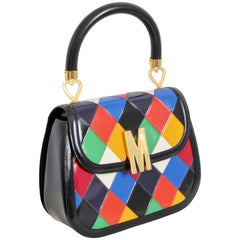 Rare Moschino Leather Bag Harlequin Patch Top Handle with Shoulder Strap Italy
