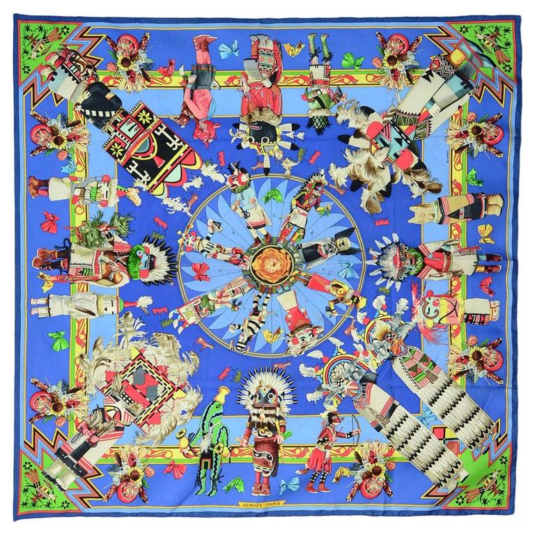 Hermes Blue Kachinas Silk Scarf 92