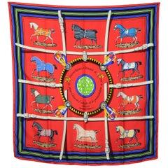 Hermes Red Couvertures Et Tenues De Jour Silk Scarf