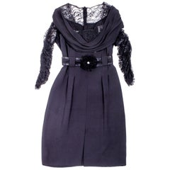 CHANEL Dress in Black Silk and Chantilly Lace Size 38FR