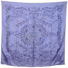Hermes Purple Silk Au Pays De Cocagne Silk Scarf