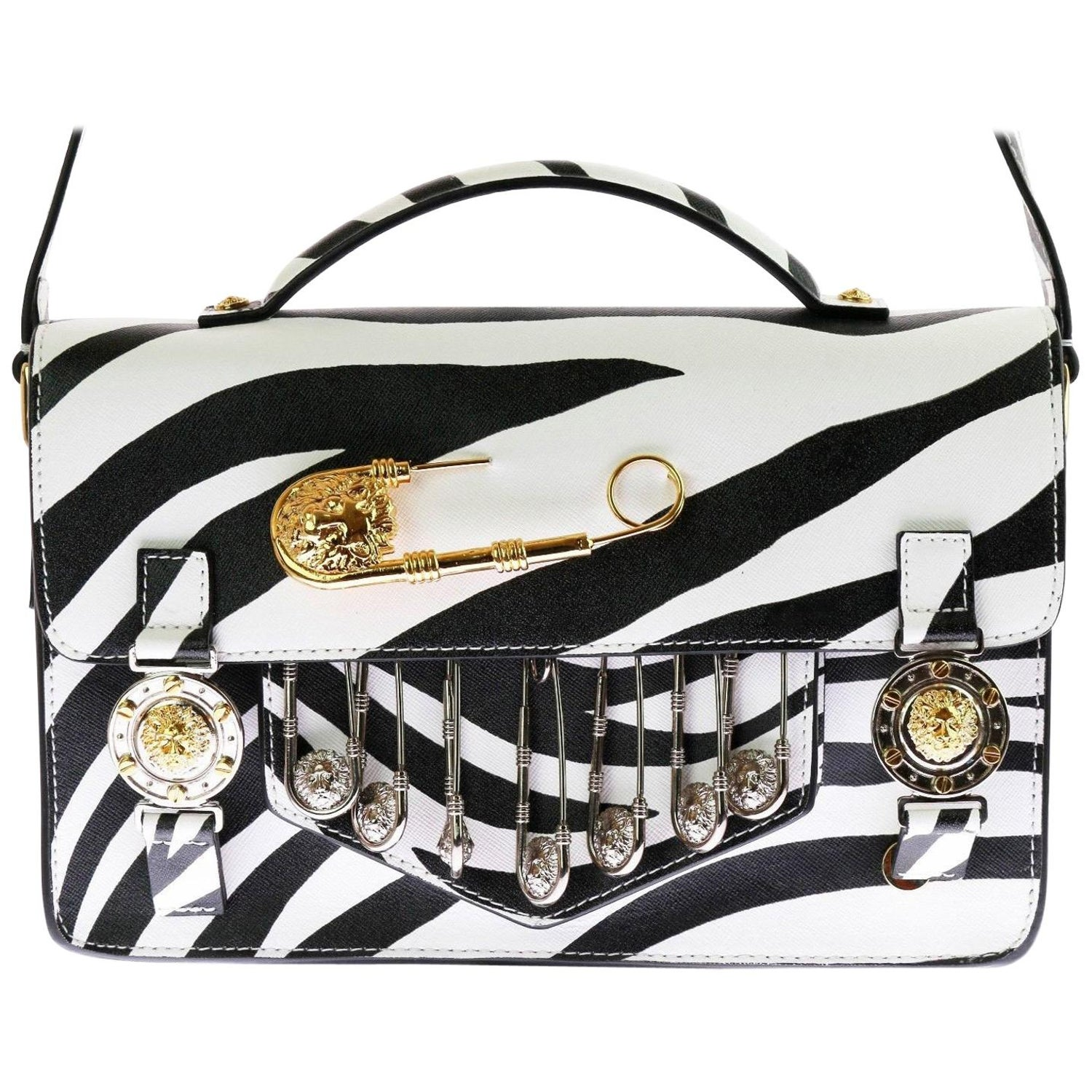 c213b9eb1d VERSUS VERSACE Safety Pin Embellished Zebra print Saffiano Leather School  Bag For Sale at 1stdibs