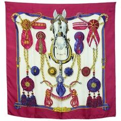 Hermes Burgundy Frontaux Et Cocardes Horse 90cm Silk Scarf