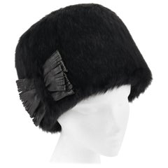 YVES SAINT LAURENT c.1960's YSL Black Angora Fur Leather Bow Cossack Hat