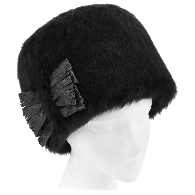 80bdb03ff98 YVES SAINT LAURENT c.1960's YSL Black Angora Fur Leather Bow Cossack Hat  For Sale