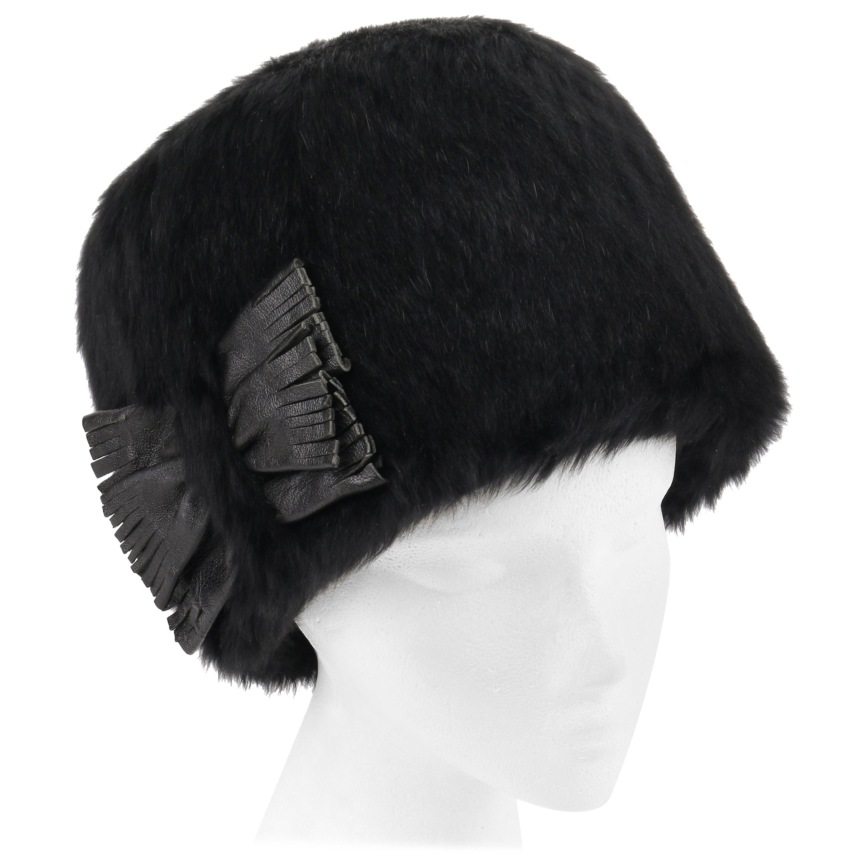 7631ebb924 YVES SAINT LAURENT c.1960's YSL Black Angora Fur Leather Bow Cossack Hat