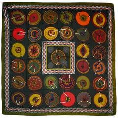 Hermes Green Silk/Cashmere Belles Du Mexique 140 Shawl