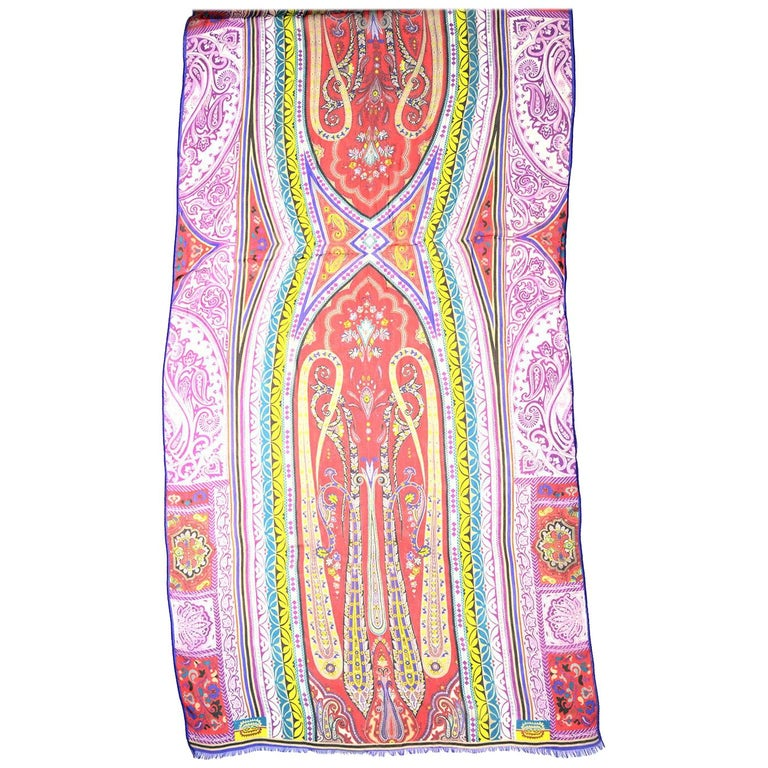 Etro Multi-Color Sheer Silk Paisley Print Scarf  Made In: Italy Color: Multi-color Materials: 100% silk Overall Condition: Excellent pre-owned condition   Measurements:  64.5