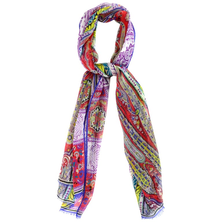 Etro Multi-Color Sheer Silk Paisley Print Scarf For Sale