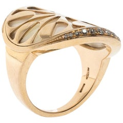 Bvlgari Intarsio Diamond Mother of Pearl 18K Rose Gold Ring