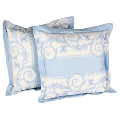 SET of TWO VERSACE BLUE WHITE BAROCCO PRINT PILLOWS