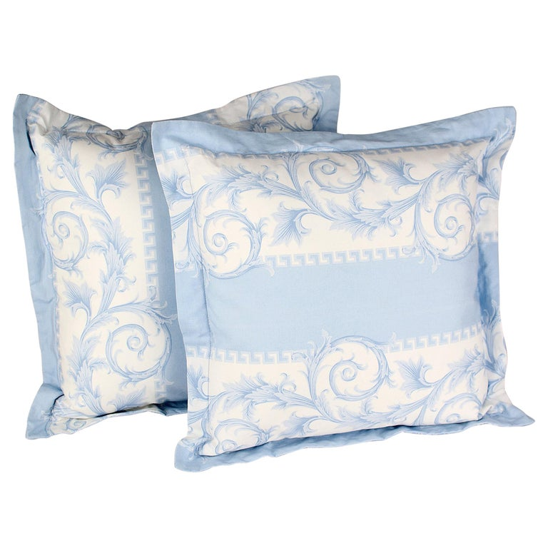 SET of TWO VERSACE BLUE WHITE BAROCCO PRINT PILLOWS For Sale