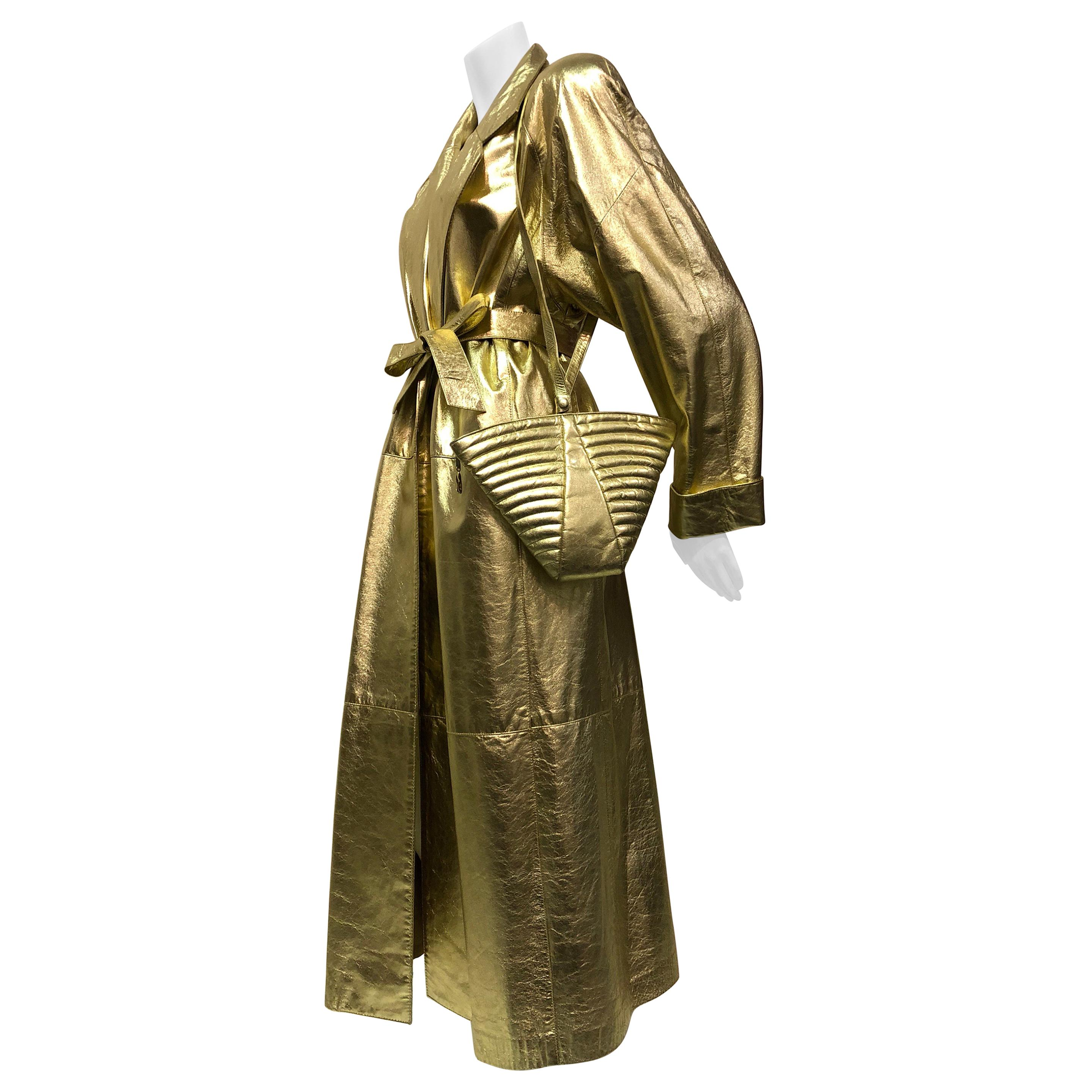 1980s Gold Leather Trench Coat & Matching Maud Frizon Quilted Gold Shoulder Bag