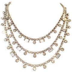 20th Century Silver & Swarovski Crystal Triple Row Swag Necklace By, Kramer