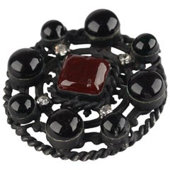 Chanel Vintage 1984 Black Metal Brooch with Glass Cabochons