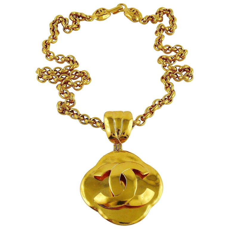 56e5605a0461fb Chanel Vintage Gold Toned Logo Pendant Necklace, 1997 For Sale at ...
