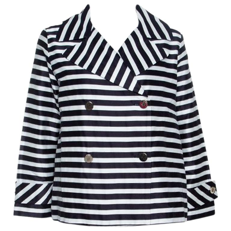 879684db1947b CH Carolina Herrera Navy Blue and White Striped Double Breasted Jacket M  For Sale