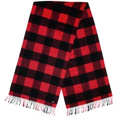 Christian Dior Homme Men's Red/Black Buffalo Plaid Gingham Wool/Cashmere Scarf