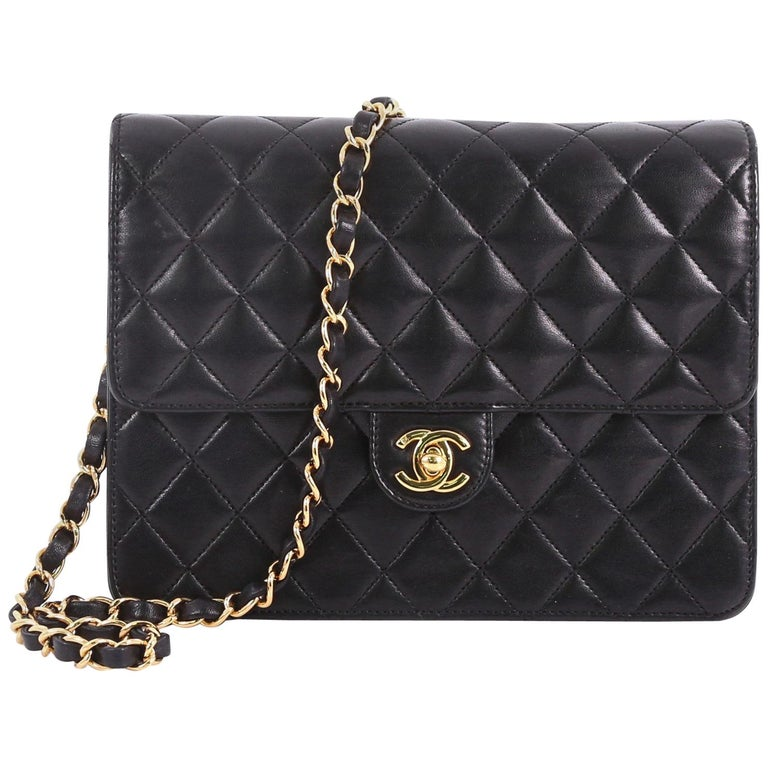 90078889efa7 Chanel Vintage Clutch with Chain Quilted Leather Small For Sale at ...