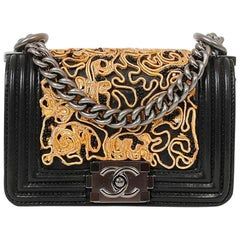 CHANEL Mini Boy in Black Leather, Gold Lace and Black Pearls