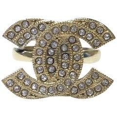 CHANEL CC Ring in Gilt Metal set with Swarovski Rhinestones Size 52
