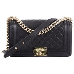 Chanel Boy Flap Bag Quilted Caviar Old Medium
