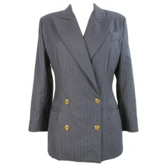 1980s Valentino Atelier Blue Gray Wool Pinstripe Double Breasted Jacket