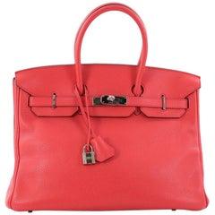 Hermes Birkin Handbag Rose Jaipur Clemence with Palladium Hardware 35 stands