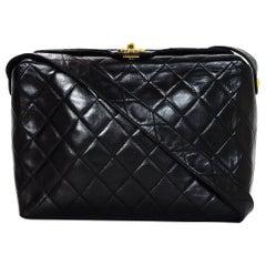 Chanel Vintage 90s Black Quilted Lambskin Leather Crossbody Bag W/ CC Twistlock