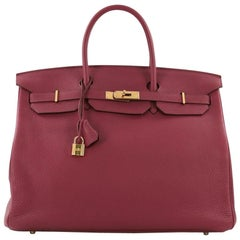 Hermes Birkin Handbag Rubis Togo With Gold Hardware 40