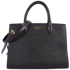Prada Bibliotheque Handbag Saffiano Leather with City Calfskin Medium
