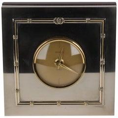 Gucci Vintage Silver Metal Square Desk Table Clock Rare
